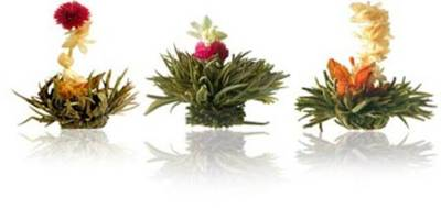 Blossoming Leaf tea flowers. Haute couture for the tea drinker