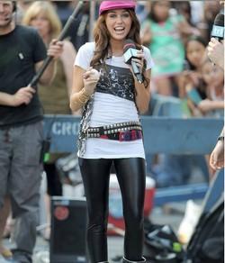 0817ed8ecec43 Miley Cyrus wearing liquid leggings