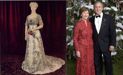 The first donated inaugural gown (left) worn by former First Lady Helen Taft; Laura Bush wearing the last inaugural gown donated in 2001