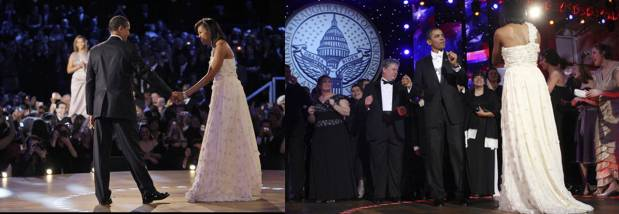 First Lady Michelle Obama wears a gown by designer Jason Wu