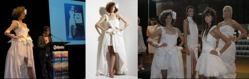 White Cashmere Competition featuring winning Canadian designer Nancy Hoang's entry, pictured left and centre
