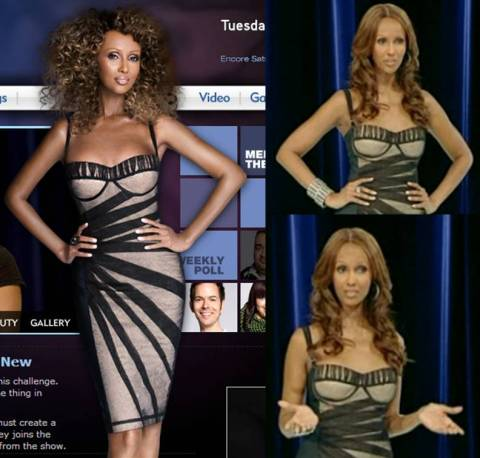 Iman judges the Something Old, Something New challenge wearing the same dress she wears on the PRC official website