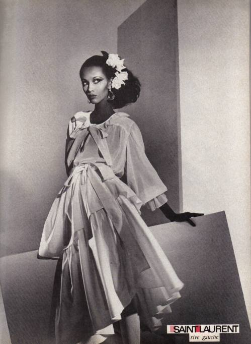 Iman in an advertisement for YSL Rive Gauche (c. 1980)