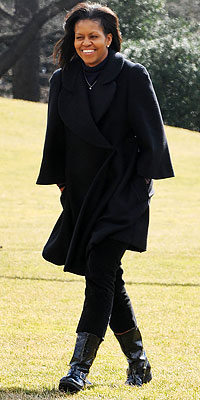 Michelle Obama on Feb. 16 walking on the South Lawn at the White House