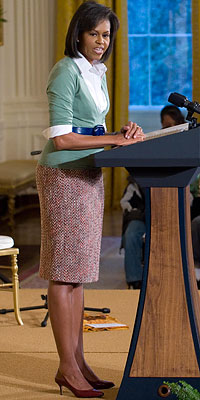 African American History Month special talk by Michelle Obama wearing J. Crew