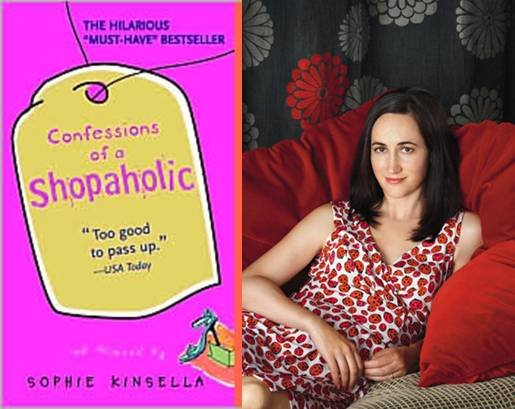 Confessions of a Shopaholic novel, left, and author Sophie Kinsella at right