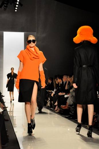 Michael Kors mixes orange and black at New York fashion week last month