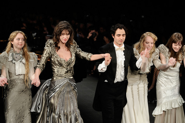 Zac Posen, centre, with models wearing his fall/winter 09 collection