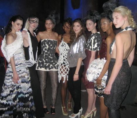 Fashion Designer Cristina Sabaiduc and models for her collection Romandin