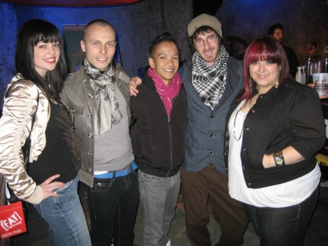 Project Runway Canada's winner, Sunny Fong, with finalist Jessica Biffi surrounded by friends at Toronto Alternative Arts and Fashion Week