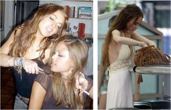 Lohan and Vanessa (left): two friends goofing around or just plain dumb? Lohan this week (right) looking rather thin