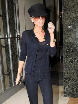 Victoria Beckham tries black on for size