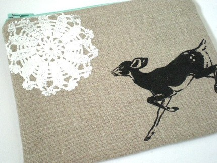 Track and Field linen pouch $16