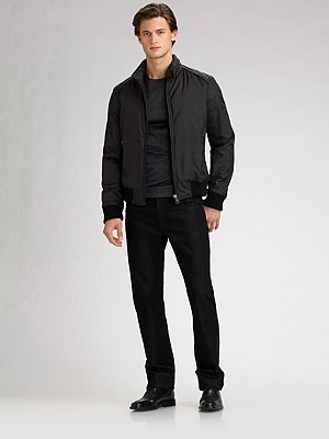 Versace Collection Straight-leg black jeans, $275
