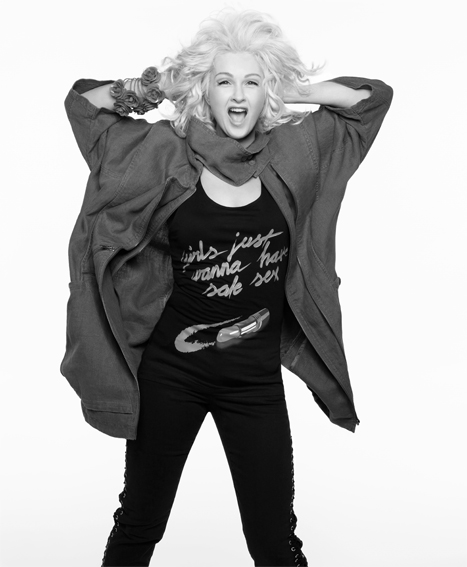 Cindy Lauper wears her collaborative tank for H&M's Fashion Against AIDS campaign, $19.90