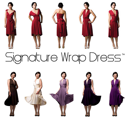 The Signature Wrap Dress is available year-round at Butter by Nadia (pictured above) and TwoBirds Bridesmaid.
