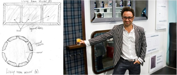 """""""Adding fashion in unexpected places,"""" Bustle Clothing's Shawn Hewson stands next to his CasaLife creations; his concept sketches are shown at left."""
