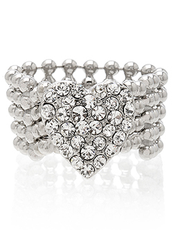 Crystal Heart Mesh ring, $20 on sale at Guess