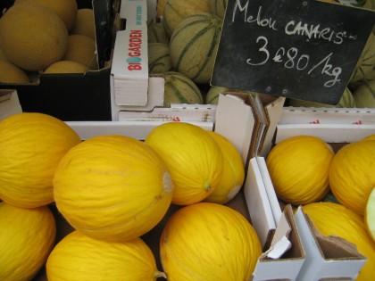Delicious melons at a Left Bank fruit market.