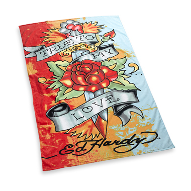 Ed Hardy True to My Love beach towel, $39.99 at Bed Bath & Beyond