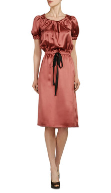 Satin dress in burnt orange, $685