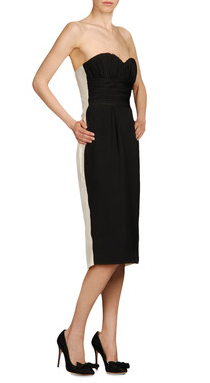 Sweetheart neckline dress black and cream washed crepe de chine, $695