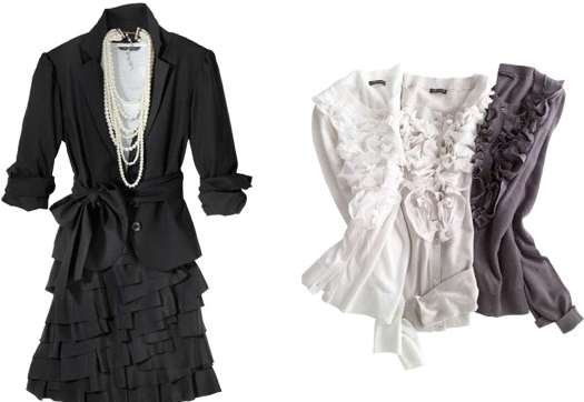 Ruffles, a soft blazer, and layered skirt make for a Chanel-esque outfit that serious at the office but flirty for cocktail hour.