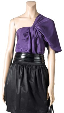 Purple asymetrical blouse and tulip skirt make a fun outfit.