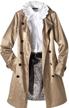 Metallic trench, tweed skirt, and ruffled blouse mix romance and modernity.