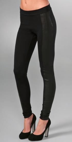 Alice + Olivia leather & stretch fabric leggings, $300