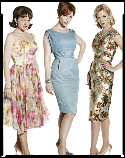 Peggy Olsen, Joan Holloway, and Betty Draper characters on Mad Men.