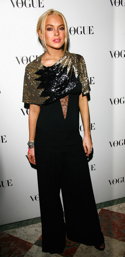 Lindsay Lohan attends a Vogue party last week in Paris