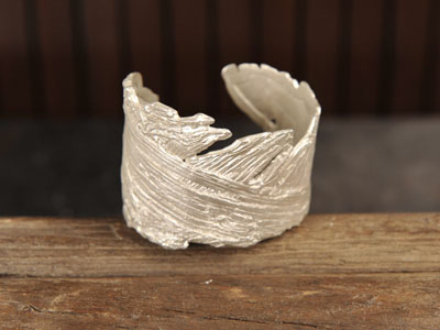 bark cuffe_handmade in NYC-recycled silver_525