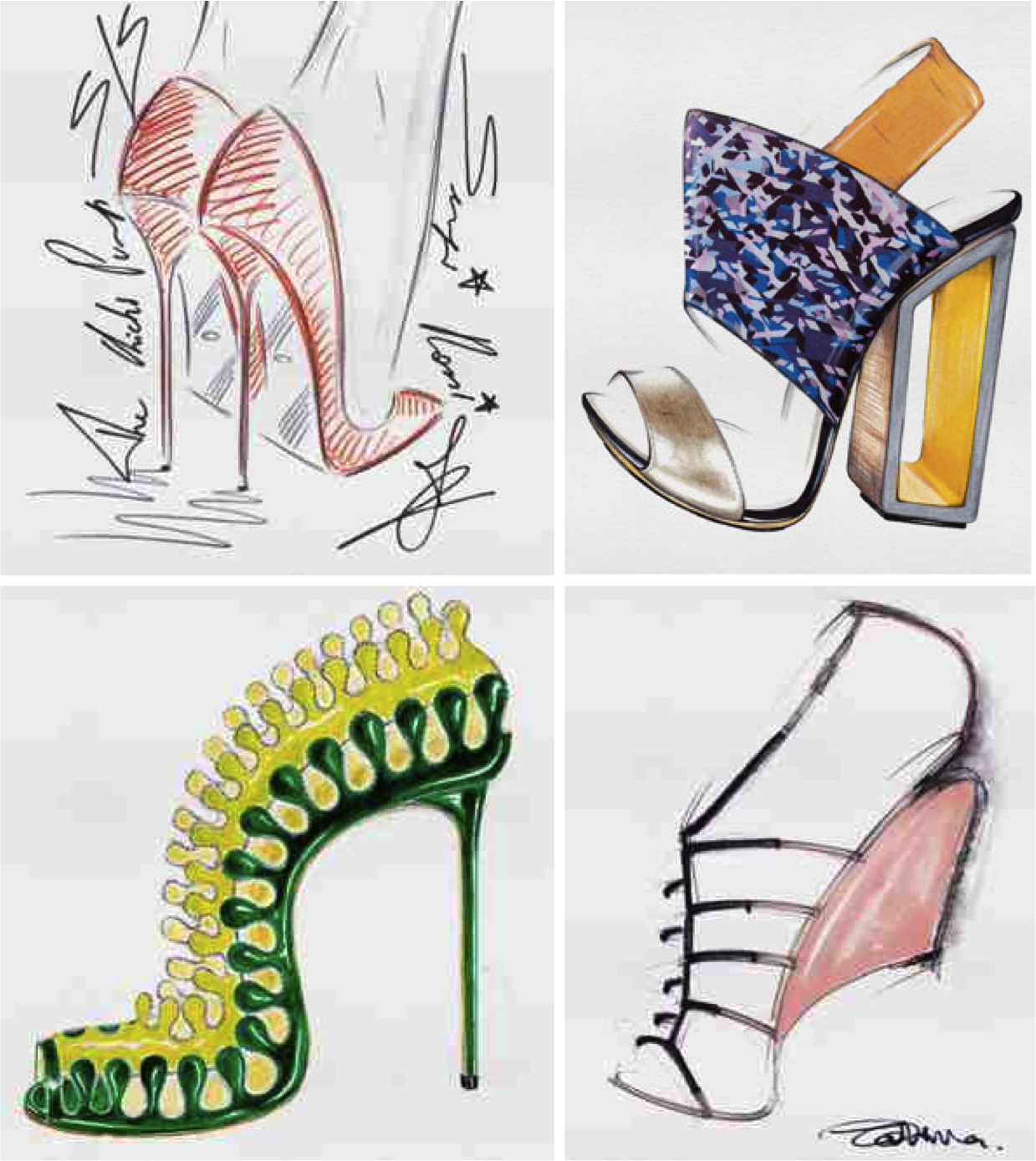 Fashion designers sketches shoes