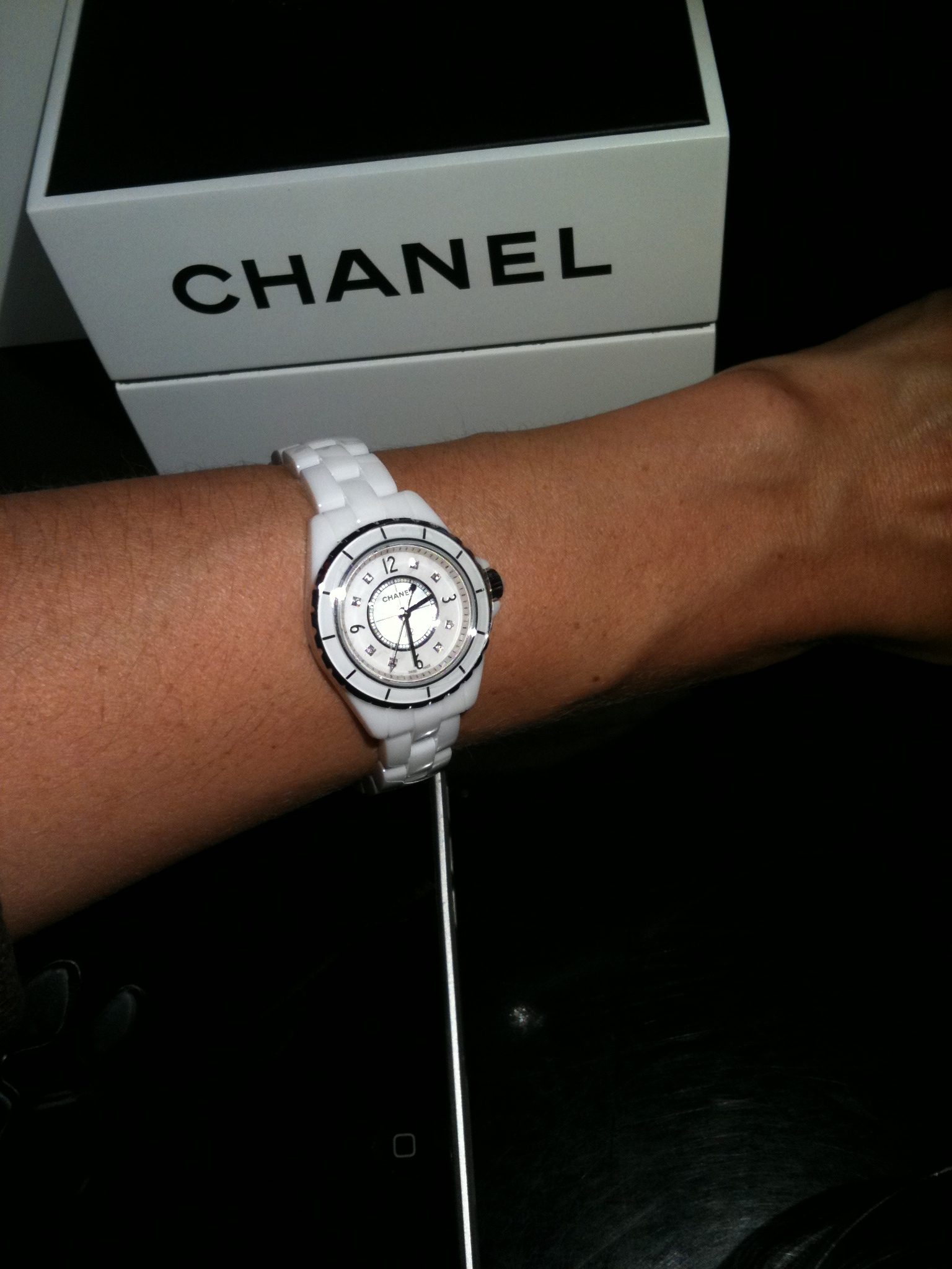 white watches ceramic quartz collection watch chanel ref swiss image