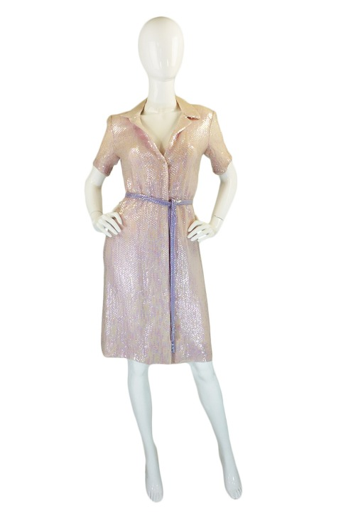 1970's Light pink sequin Halston dress, $1,800