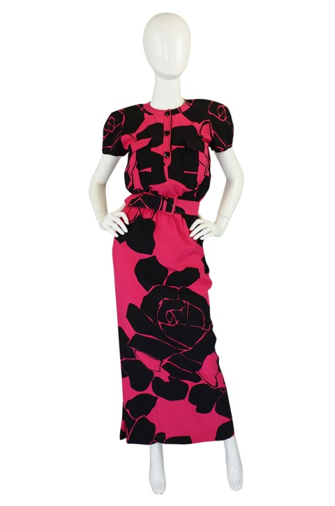 Early 1980's Valentino Pink and Black gown,