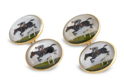 Foundwell 18 Karat gold and essex crystal jockey cufflinks_$6525