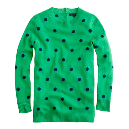 J. Crew's polka dot cashmere sweater is fun and cozy for winter, $228 at J. Crew