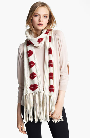 Kiss kiss bang bang wearing a soft cashmere scarf with fun lips and delightful chunky knit detail for many winters, $550 by Sonia Rykiel at Nordstrom