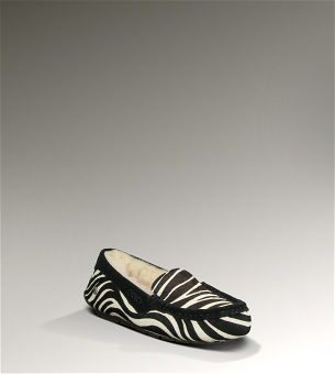 Cozy shearling zebra-print slippers for my friend Sue who loves slippers as much as I do, $175 at UGG Australia