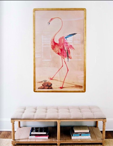 flamingo artwork at home, image via Moth Design