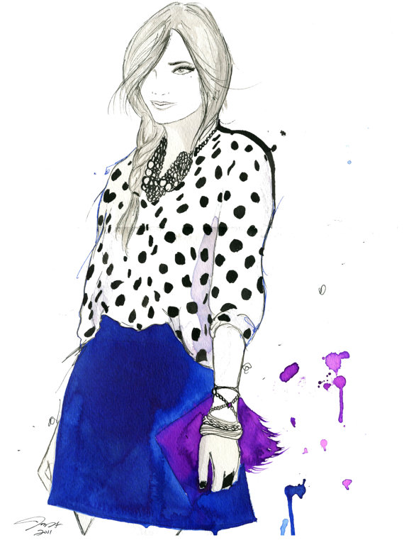 Girl About Town fashion illustration, $20, Jessica Durrant