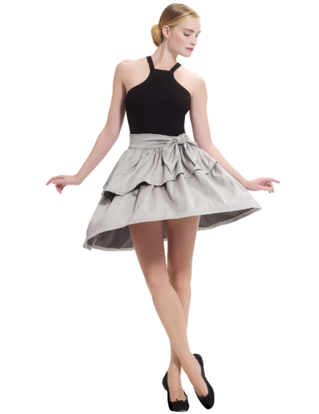 skirt with frills in silvery jersey, €230, Repetto