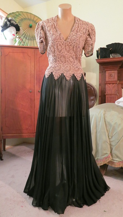 1940's full-length black chiffon gown with ecru lace top, $150 at Dandelion Vintage