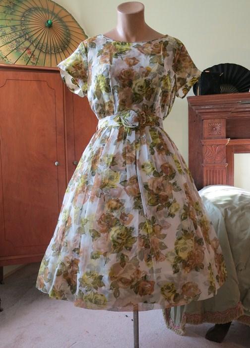 Early 1960's rose print chiffon and taffeta dress, $80 at Dandelion Vintage