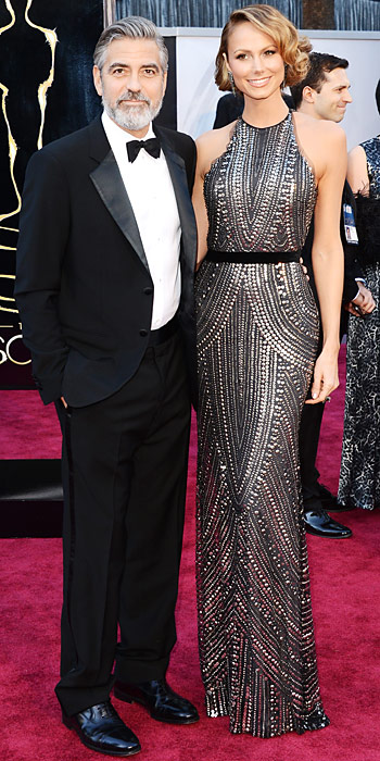 George Clooney with Stacy Keibler in Naeem Khan