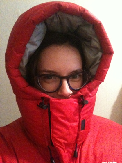 My crazy red down jacket rated for Mount Everest climbers regularly gets an airing in Toronto