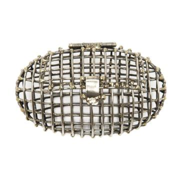 Andra Neen oval cage clutch, $675, L'Atitude