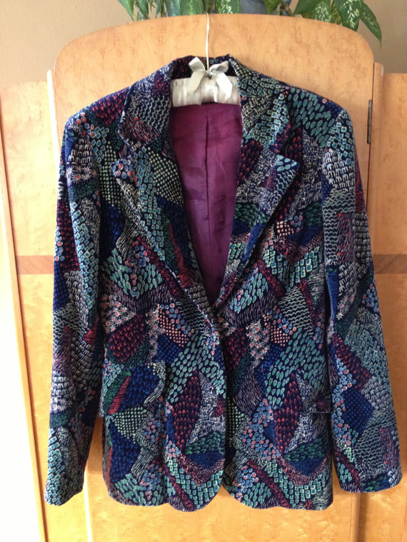 Vintage 70's blazer with peacock print, $44.95 USD at Sophie's Choice Vintage